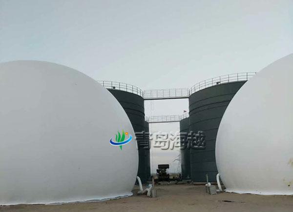 宁夏灵武生态养殖1500立方两套独立沼气储气柜工程案例图片