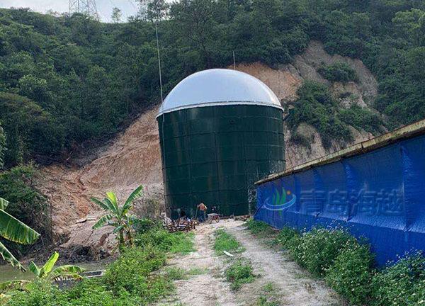 海越四川省攀枝花2200立方一体双膜沼气储气柜项目图片